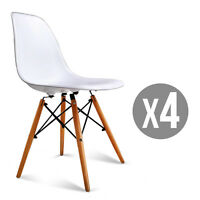 Set of 4 Mid Century Eames Style DSW Dining Side Chairs w/Wood Legs White