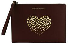 Michael Kors Wristlet Clutch Bag Merlot Dark Red Studded Heart Saffiano Leather