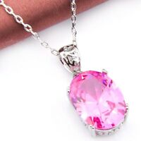 Party Gift Xmas Gift Sweet Pink Topaz Gemstone Silver Necklace Pendant New