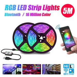 Bluetooth 5M IP65 LED Strip Lights 5050 RGB 5V USB Changing TV PC Back Light