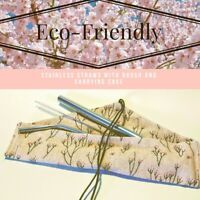 Eco Friendly Stainless Steel Straws Set With Carrying Case - USA Sold