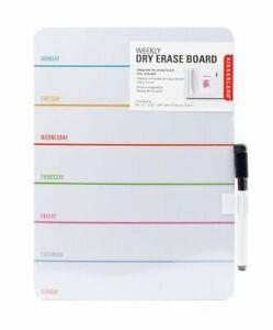 Kikkerland DRY ERASE Magnetic BOARD WEEKLY Notice Board Fridge Magnet with PEN
