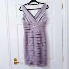 Adrianna Papell Metallic Biege Ruffle Tiered Shutter Pleat Frills Dress Size 6