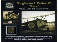 Douglas World Cruiser Genuine Piece of Original Fabric on a Gorgeous Certificate