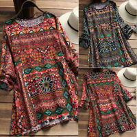 Fashion Womens Floral Printed O-Neck Long Sleeve Tunic Swing Tops Shirt Blouse