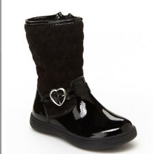 Carters Riding Boots Bonita Winter Black Side Zipper Heart Buckle Faux Leather