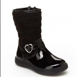 Carters Riding Boots Bonita Winter Black Side Zipper Heart Buckle Faux Leather