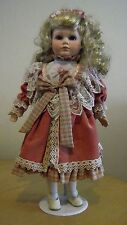 CHINA DOLL ,Porcelain headed doll / collectable doll with metal stand