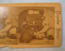 Stereoview Popular Series The Shoemaker Man Fitting Shoe On A Woman (O) AS IS