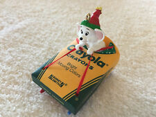 Vintage Collectible Hallmark Mouse on Sled Bright Moving Colors Ornament 1990