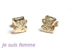 Boucles d'oreilles OR JAUNE MASSIF   Petits Oursons  ENFANT  (f361) 8k
