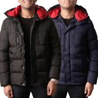 Mens Bubble Coat Puffer Contrast  Jacket Padded Hooded Down Outdoor Warm Zip Up