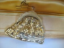 Womens Vintage 9ct GOLD Plated PURSE Small Bag Wallet Coins Mesh Clutch Rare 31g