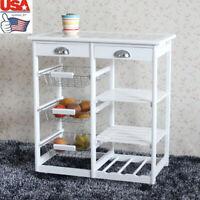 USA 3-Tier Storage Rack Shelves Kitchen Cart Organizer Stand with Wheels&Drawer