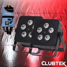 2x 5Q5 RGBW LED ledj Negro Slimline DMX DJ Disco Fiesta Iluminación Superior + Cable Dmx Par