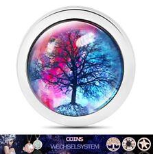 COIN COINS MÜNZEN Glas 3D Effekt LEBENSBAUM 01 33mm kompatibel mit Quoins Moneda