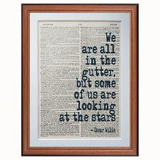 Oscar Wilde Citation Dictionary page de guillemets Art Imprimé lecture livres littéraires Cadeau