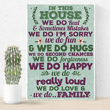 In This House We Do Family Wall Art Sign Plaque Mum Dad Birthday Gifts For Women