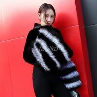 Real Mink Fur Sweater Women Pullover Warm Coat Detachable Fox fur Ruffle Sleeve
