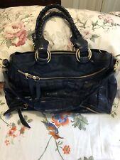 Treesje Crossbody Navy Blue Supple Leather Shoulder Handbag EUC