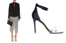 NEW GIVENCHY NADIA SANDALS IN WHITE AND BLACK PATENT LEATHER HEELS SIZE 37
