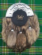 New Men's Scottish Kilt Sporran FoxFur Celtic Cantle Chrome Finish/Kilt Sporran