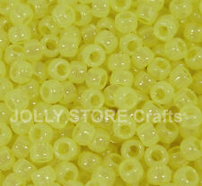 Yellow Glow in the Dark 9x6mm Pony Beads 500pc school crafts kandi party project