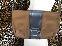 DKNY Shoulder Bag Brown with Dark Gray Faux Leather Strap & Trim