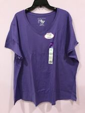 Just My Size Plus Size Cotton S/S V Neck Tee Top Shirt 4X Lavender NWT