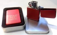 Engraved Red Personalised Lighter - Star Petrol boxed birthday wedding xmas gift
