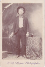 Unique Cabinet Card Man with Gun/Pistol & Whiskey Bottle by E L Rogan 1890s