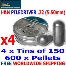 H&N PILEDRIVER .22 5.50mm Airgun Pellets 4(tins)x150pcs FAC HUNTING SUPER HEAVY