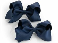 2 Large Navy Blue Hair Bow Hair Clips Girls Women Accessory