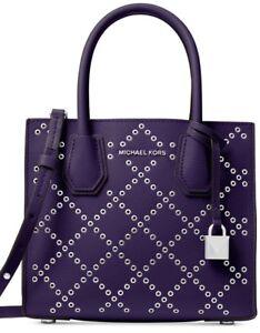 New Michael Kors Studio Mercer grommeted leather iris Cross Body Bag messenger