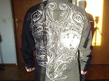 Herren shirt langarm Modisches schwarz Hemd Ärmel black goth vampire emu