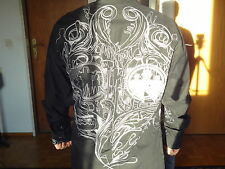 Camisa para hombre manga larga de moda negro camisa manga Black Goth vampiros EMU