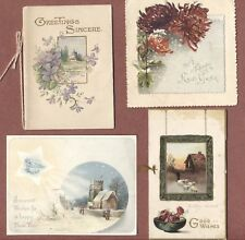 New Year cards  x4,  2 Raphael Tucks, snow  flowers church  Mrs Vodden     RK584