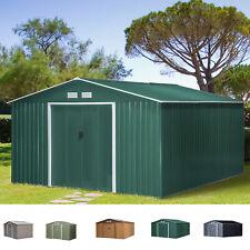 More details for storage garden equipment 2 door shed galvanised metal grey outdoor