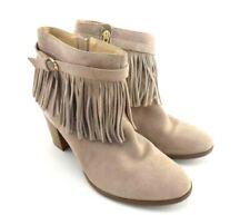 Fringe Zip Up Boots C. Wonder Willa Woman's Size 9M Leather Block Heel