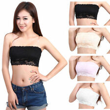 2 Pack Black & White Lace Bandeau XS Strapless Women Crop Boob Tube Top Shirt