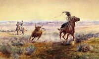 """Dream-art Oil painting cowboys horsemen Hunting bison hand painted canvas 24x36"""""""