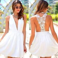 LF  White crochet lace Racerback V Neck Dress Nwt Size Au size 8/Small