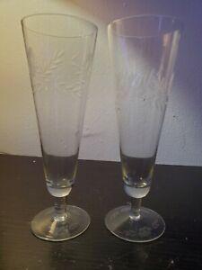 "Set of 2 Vintage Etched Floral Tall Champagne Flute Glasses. 9"""