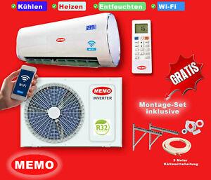 Split Klimaanlage  Klimagerät Inverter 9000 BTU  R32 2,5 kW A++ WIFI 3m Leitung