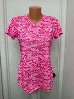 Reel Legends womens Shirt short sleeve geometric v neck white pink s small