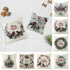 1PC Christmas Printed Linen Cushion Covers Throw Pillow Case Sofa Chair Decor