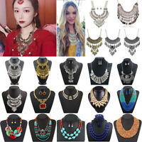 Fashion Women Bohemia Pendant Choker Chunky Chain Bib Necklace Statement Jewelry