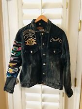 Harley Davidson Motorcycles Life Member Dark Jean Jacket w/ Patches Size Large