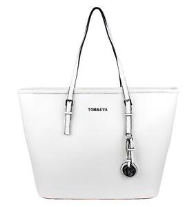 Shopper Tasche Handtasche Weiß Damen Schultertasche Saffiano Tom&Eva Silver Logo