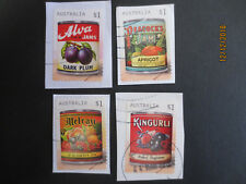 N0---2-  2018 --VINTAGE  JAM  LABELS    4  STAMPS   ISSUED  ---USED --P/S